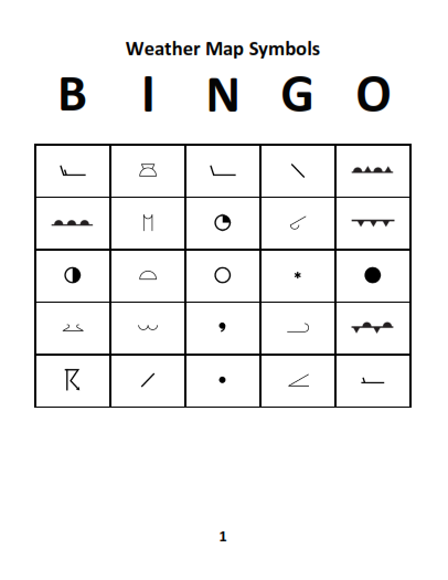 Weather Map Symbols Bingo Card 1